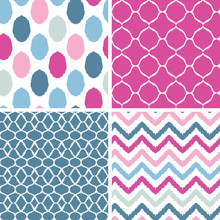 Vector Set Of Blue And Pink Ik...