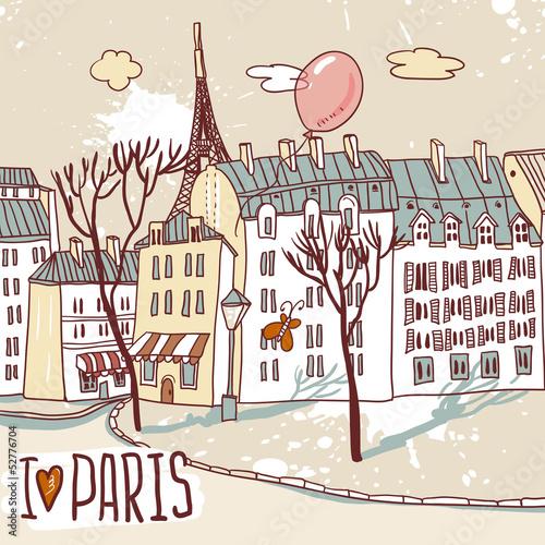 Foto auf AluDibond Gezeichnet Straßenkaffee paris urban sketch