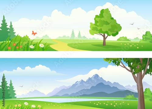 Fotobehang Wit Landscape banners