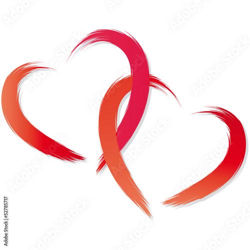 Zwei Rote Herzen Ineinander Verschlungen Pinselstrich Kaufen Sie