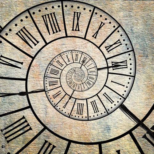 Foto op Plexiglas Spiraal Horloge fond vintage, spirale