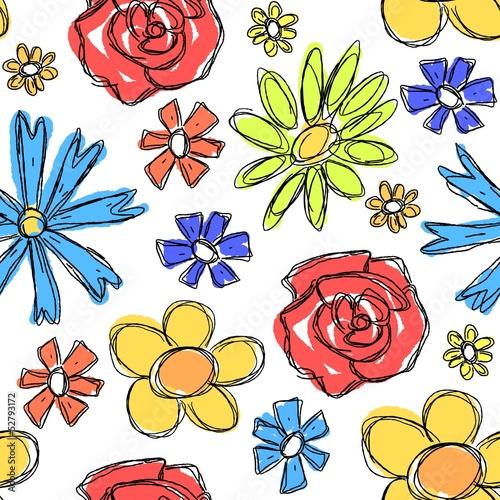 Tuinposter Abstract bloemen Flowers background - vector illustration