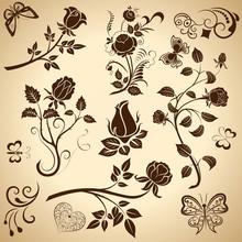 Rose Vintage Vector Design Elements