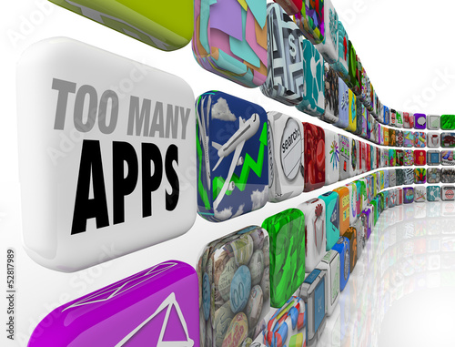 Fotografie, Obraz  Too Many Apps Software Programs Oversupply Glut Surplus
