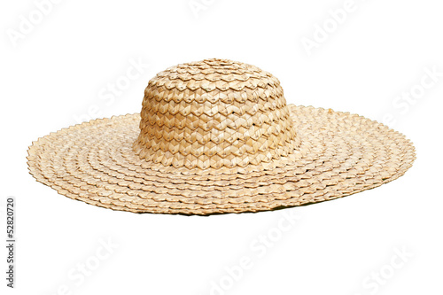 Fotografía  Straw hat side view isolated on white