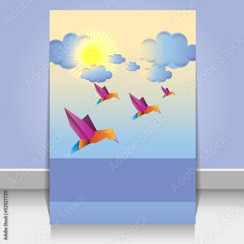 Poster Geometric animals Origami birds and clouds vector design background