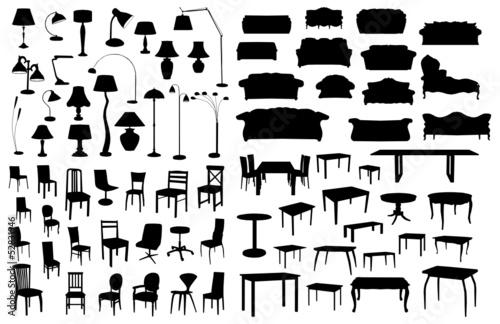 Cuadros en Lienzo  Set of furniture silhouettes