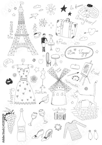 Photo sur Toile Doodle French Set