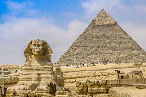 Photo Stands Egypt Sphinx and the Great Pyramid in the Egypt