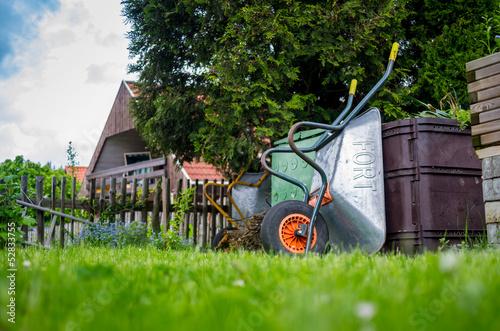 Schubkarre Am Kompost Im Garten Buy This Stock Photo And Explore