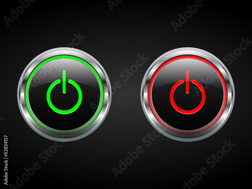 Power Buttons Green And Red Turn Onoff Symbols Vector Buy This