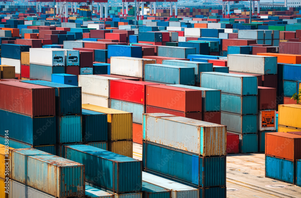 Fototapeta lot's of cargo freight containers