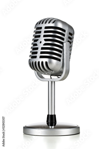 Vintage silver microphone isolated on white background Fototapeta