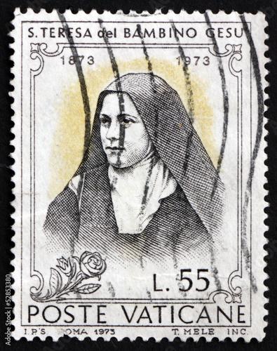 Fotografie, Obraz  Postage stamp Vatican 1973 St. Teresa of Lisieux, Carmelite Nun