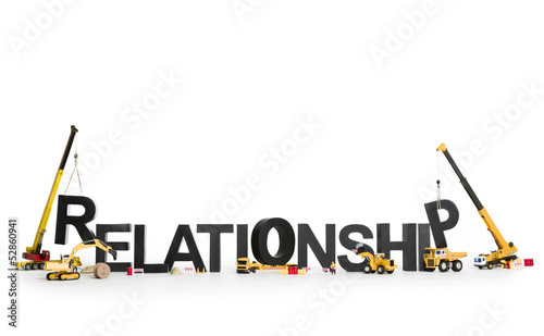 Developing a relationship: Machines building word. Wallpaper Mural