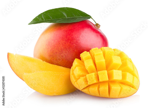 Spoed Foto op Canvas Vruchten mango fruit isolated on white background