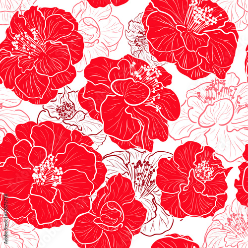 Tuinposter Abstract bloemen Seamless red pattern with floral background