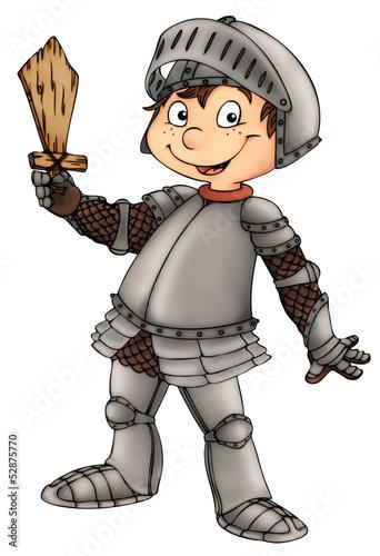 Foto op Plexiglas Ridders Ritter, Junge, Kind, Rüstung, Schwert
