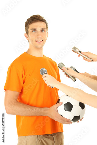 Interview with a young soccer player, isolated on white