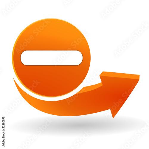 Fotografía  moins sur bouton web orange