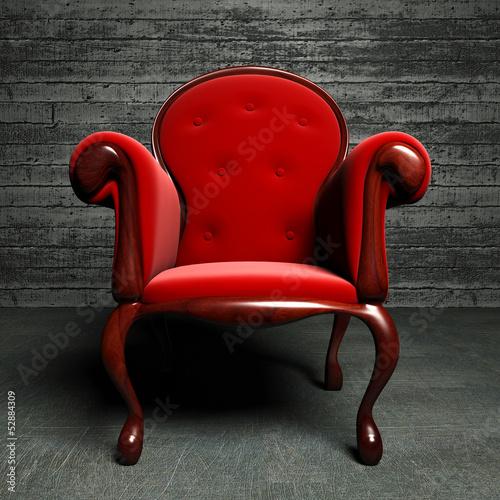 Obraz w ramie red silk armchair