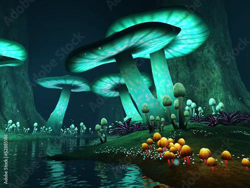Fototapeta Jezioro nocą z kolorowymi grzybami obraz