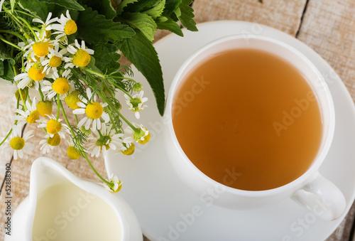 Poster Muguet de mai Cup of tea on wooden table