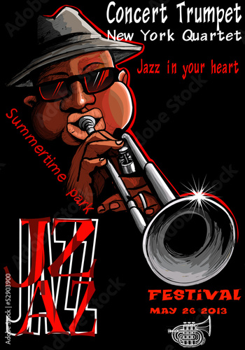 Spoed Foto op Canvas Muziekband Jazz poster with trumpeter