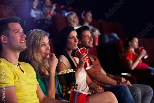Fototapeta Spectators in multiplex movie theater obraz