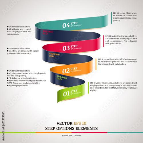 Fotografía  Modern zigzag infographic, steps paper strip template