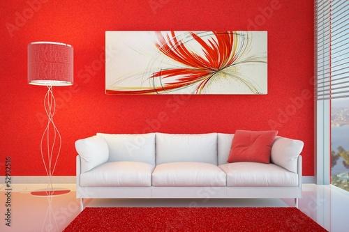 Fotografie, Tablou  divano rosso lampada