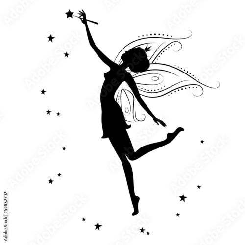 Fotografie, Tablou  Silhouette of a fairy and stars