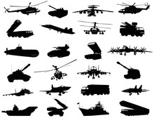 Detailed Weapon Silhouettes Set. Vector On Separate Layers