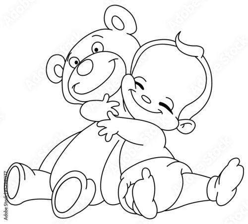 Papiers peints Cartoon draw Outlined baby hug bear