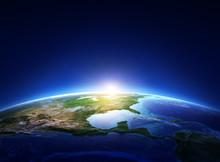 Earth Sunrise North America Wi...