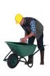 Builder with a wheelbarrow