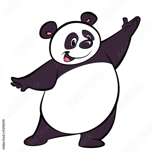 Canvas Prints Baby room Happy cartoon panda character presenting