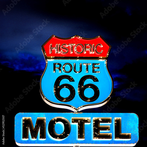 In de dag Route 66 Route 66 at night