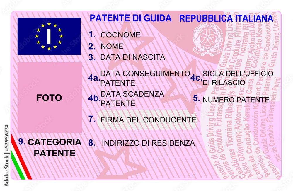 Fotografia Patente Di Guida Europea Patente Elettronica Su