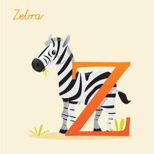Animal Alphabet With Zebra,  Vector Illustration