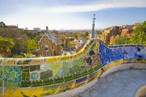 Aluminium Prints Barcelona Gaudì's Parc Guell in Barcelona