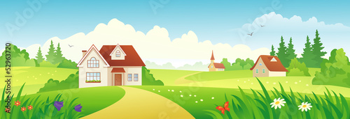 Poster Turquoise Summer village banner