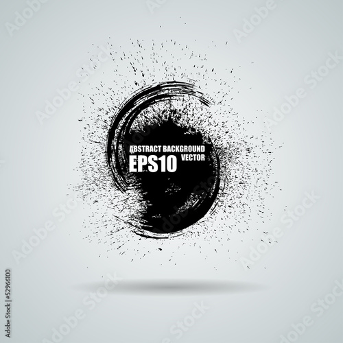 Fotografie, Obraz  Abstract vector black grunge background. Vector banner