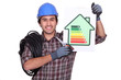 electrician holding an energy consumption label