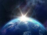 Planeta ziemia przy wschodzie słońca