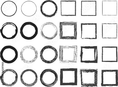Set of black grunge frames isolated on white background Canvas Print