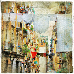 FototapetaNapoli - traditional old italian streets, artistic picture in pa