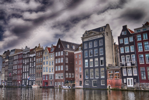 Poster Amsterdam Amsterdam. Wonderful view of city canals and buildings in spring