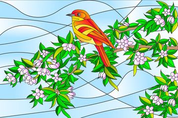 Naklejka Popularne Bird sitting on Tree Stained glass Painting