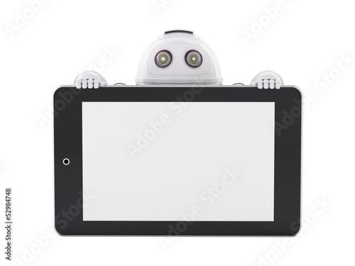 Fotografia, Obraz  Robot with tablet pc